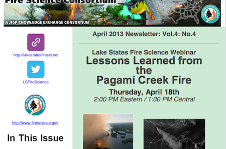 Learn more about the activities of the Lake States Fire Science Consortium in our newsletter.