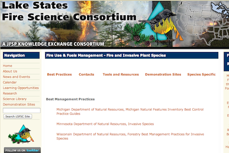 Lake States Fire Science Consortium has developed an online library for resources pertaining to fire and invasive plant species.