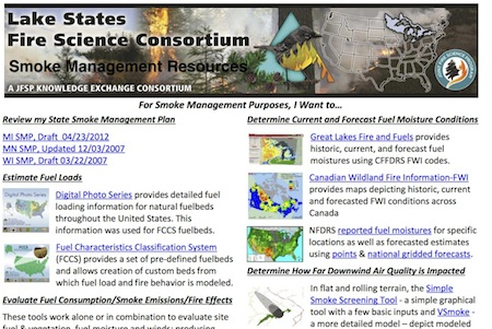 Lake States Fire Science Consortium has developed an online library for resources pertaining to smoke management.